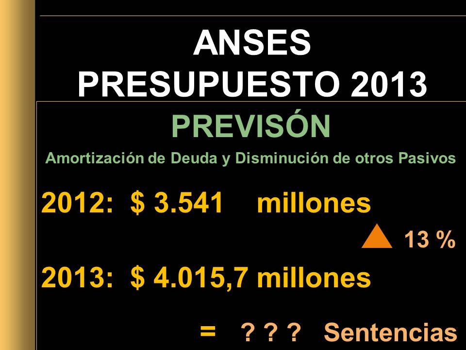 ANSES PRESUPUESTO 2013 PREVISÓN Amortización de Deuda y Disminución de otros Pasivos 2012: $ 3.541 millones 13 % 2013: $ 4.015,7 millones = ? ? ? Sent