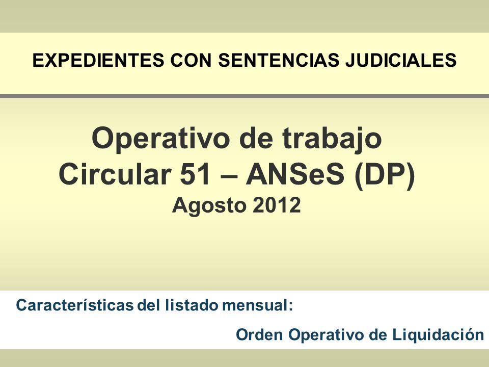 EXPEDIENTES CON SENTENCIAS JUDICIALES Características del listado mensual: Orden Operativo de Liquidación Operativo de trabajo Circular 51 – ANSeS (DP