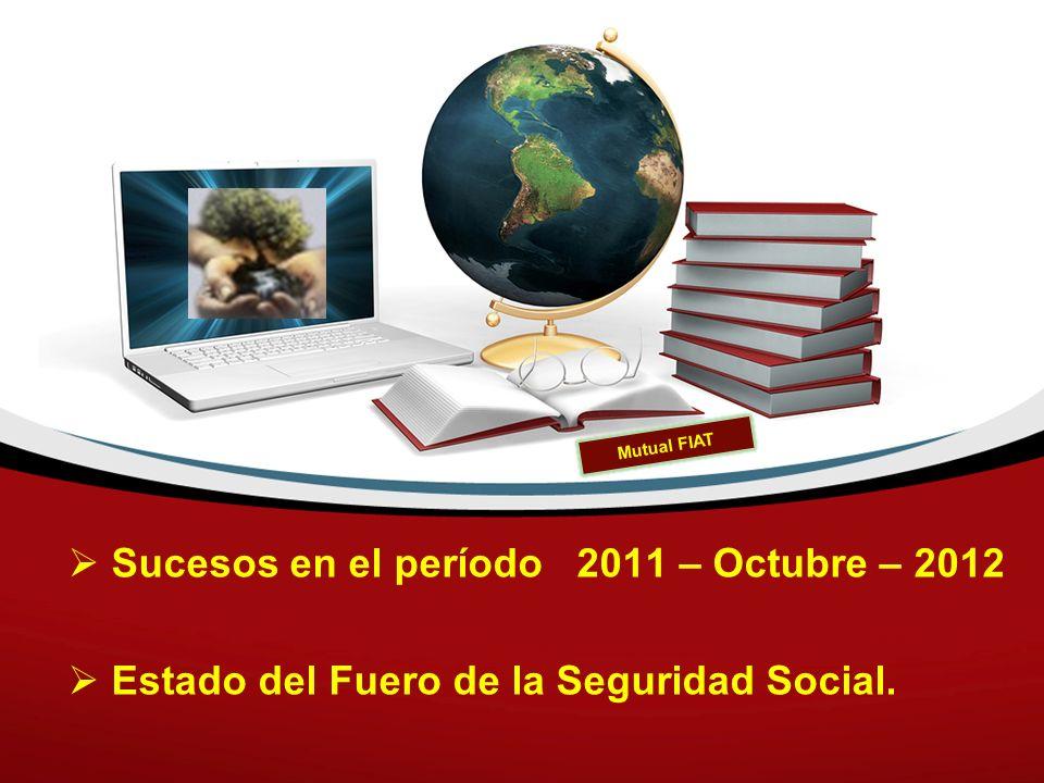 Sucesos en el período 2011 – Octubre – 2012 Estado del Fuero de la Seguridad Social. Mutual FIAT