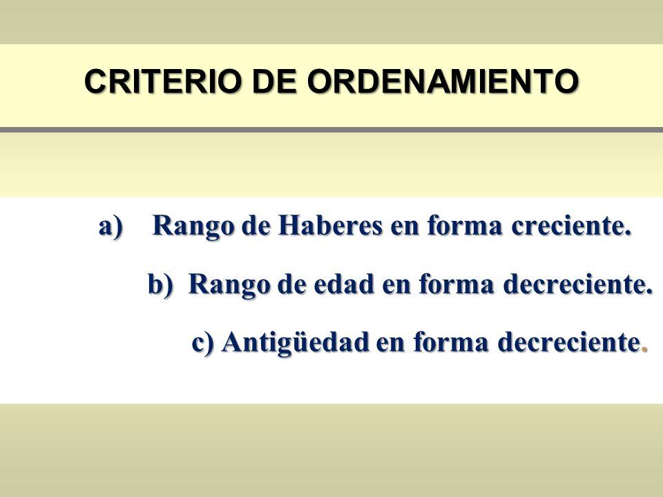 CRITERIO DE ORDENAMIENTO a)Rango de Haberes en forma creciente. b) Rango de edad en forma decreciente. b) Rango de edad en forma decreciente. c) Antig
