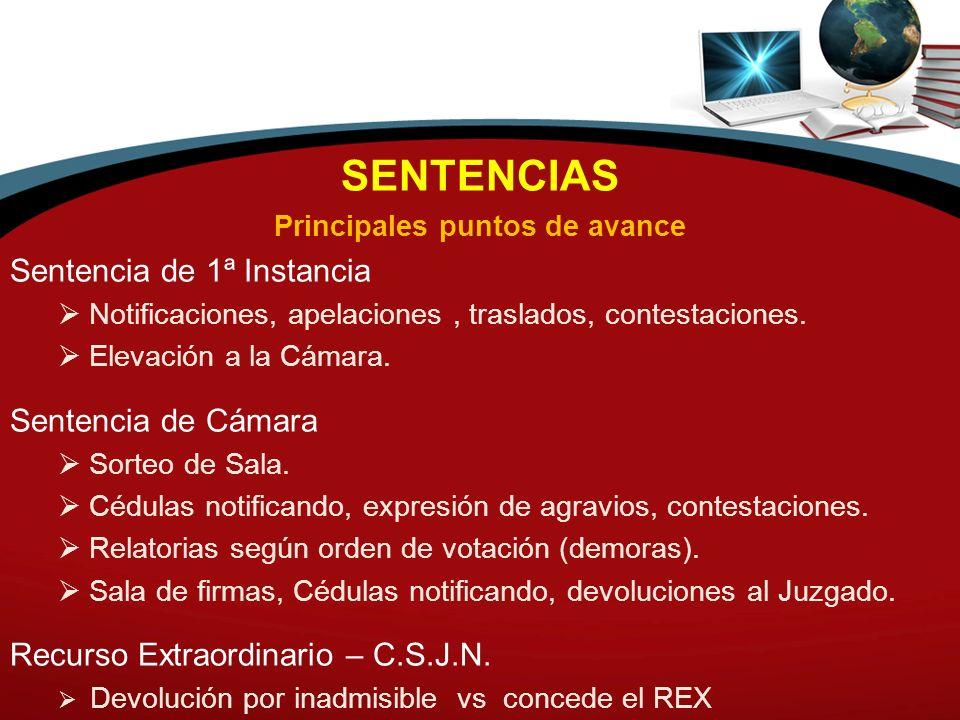 SENTENCIAS Principales puntos de avance Sentencia de 1ª Instancia Notificaciones, apelaciones, traslados, contestaciones. Elevación a la Cámara. Sente