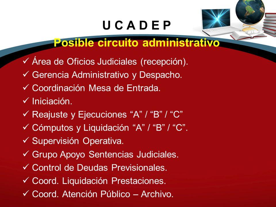U C A D E P Posible circuito administrativo Área de Oficios Judiciales (recepción). Gerencia Administrativo y Despacho. Coordinación Mesa de Entrada.