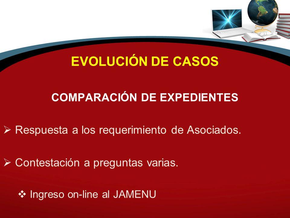EVOLUCIÓN DE CASOS COMPARACIÓN DE EXPEDIENTES Respuesta a los requerimiento de Asociados. Contestación a preguntas varias. Ingreso on-line al JAMENU