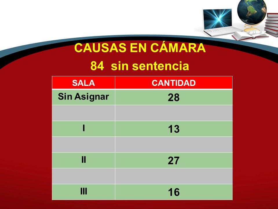 CAUSAS EN CÁMARA 84 sin sentencia SALACANTIDAD Sin Asignar 28 I 13 II 27 III 16