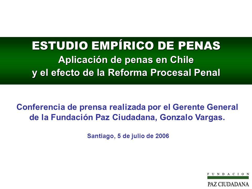 ESTUDIO EMPÍRICO DE PENAS Aplicación de penas en Chile y el efecto de la Reforma Procesal Penal Conferencia de prensa realizada por el Gerente General de la Fundación Paz Ciudadana, Gonzalo Vargas.