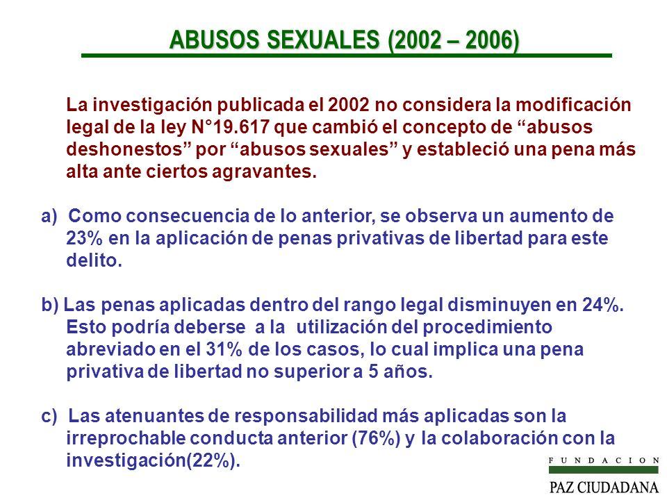 La investigación publicada el 2002 no considera la modificación legal de la ley N°19.617 que cambió el concepto de abusos deshonestos por abusos sexuales y estableció una pena más alta ante ciertos agravantes.