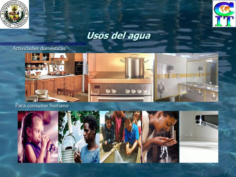 Usos del agua Actividades domésticas Para consumo humano