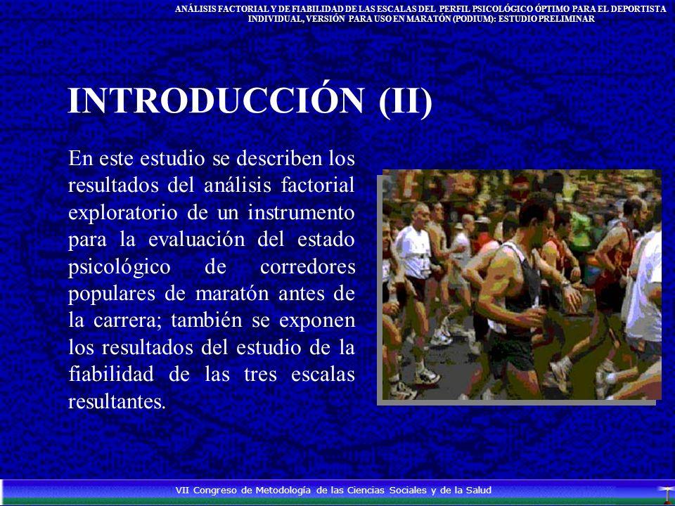 En este estudio se describen los resultados del análisis factorial exploratorio de un instrumento para la evaluación del estado psicológico de corredores populares de maratón antes de la carrera; también se exponen los resultados del estudio de la fiabilidad de las tres escalas resultantes.