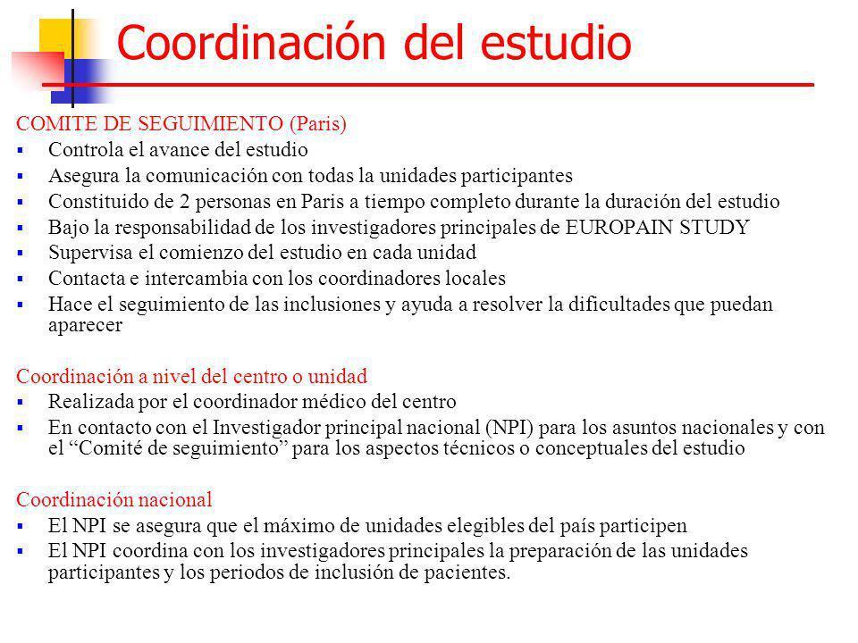Coordinación del estudio COMITE DE SEGUIMIENTO (Paris) Controla el avance del estudio Asegura la comunicación con todas la unidades participantes Cons
