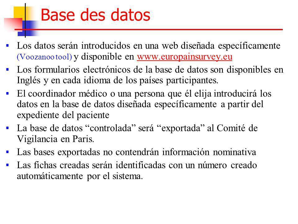 Base des datos Los datos serán introducidos en una web diseñada específicamente (Voozanoo tool) y disponible en www.europainsurvey.euwww.europainsurve