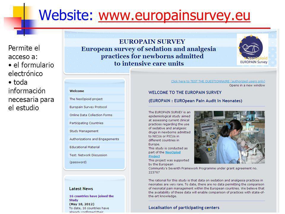 Website: www.europainsurvey.euwww.europainsurvey.eu Permite el acceso a: el formulario electrónico toda información necesaria para el estudio