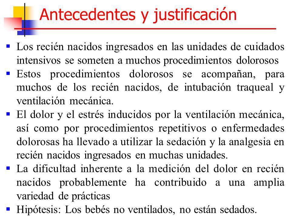 Antecedentes y justificación Los recién nacidos ingresados en las unidades de cuidados intensivos se someten a muchos procedimientos dolorosos Estos p
