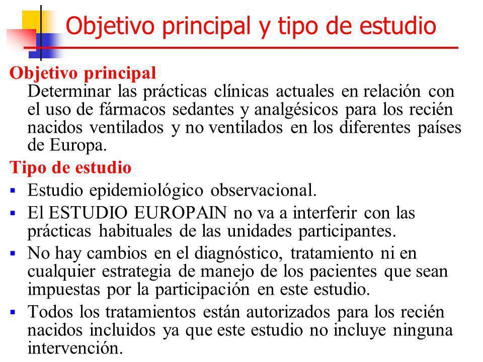 Objetivo principal y tipo de estudio Objetivo principal Determinar las prácticas clínicas actuales en relación con el uso de fármacos sedantes y analg