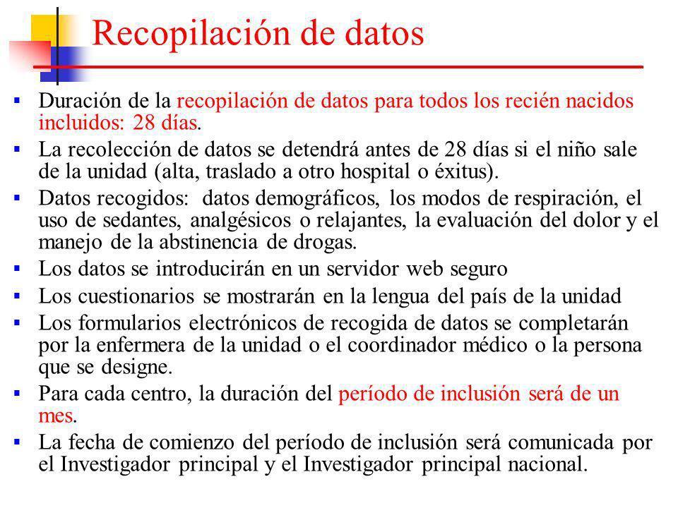 Recopilación de datos Duración de la recopilación de datos para todos los recién nacidos incluidos: 28 días. La recolección de datos se detendrá antes