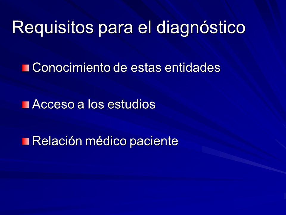 Requisitos para el diagnóstico Conocimiento de estas entidades Acceso a los estudios Relación médico paciente