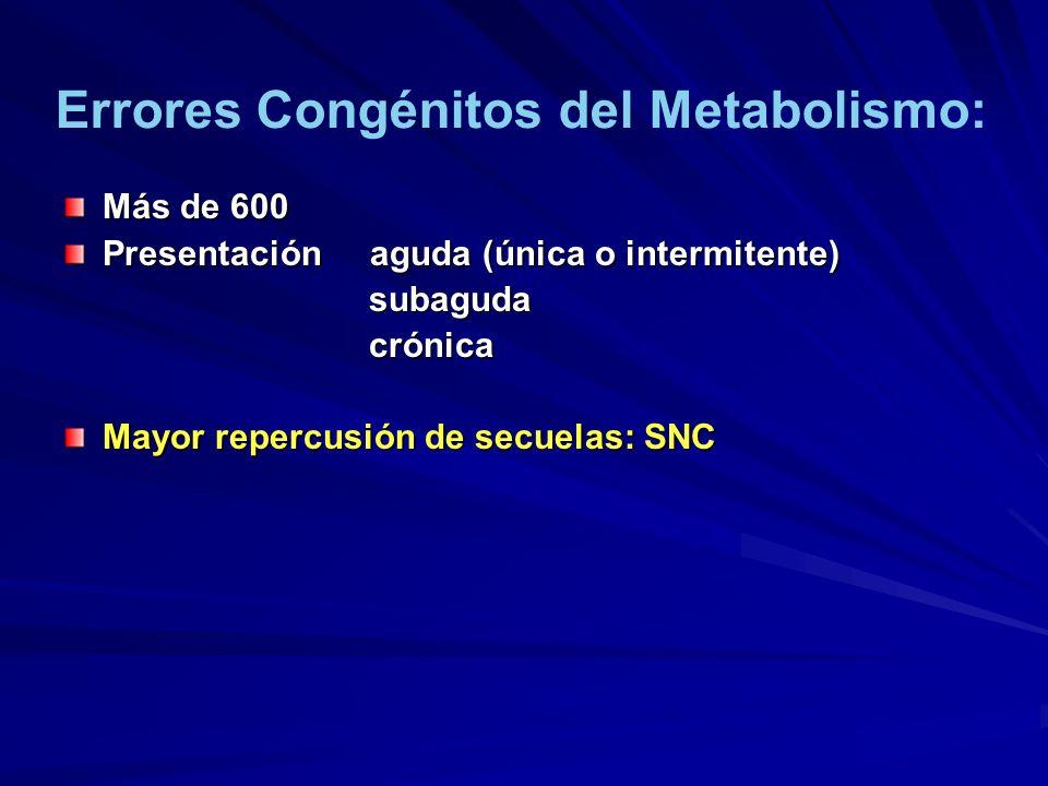 Más de 600 Presentación aguda (única o intermitente) subaguda subaguda crónica crónica Mayor repercusión de secuelas: SNC Errores Congénitos del Metab