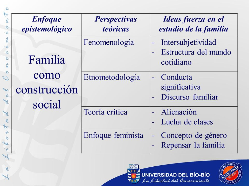 11 Enfoque epistemológico Perspectivas teóricas Ideas fuerza en el estudio de la familia Familia como construcción social Fenomenología-Intersubjetivi