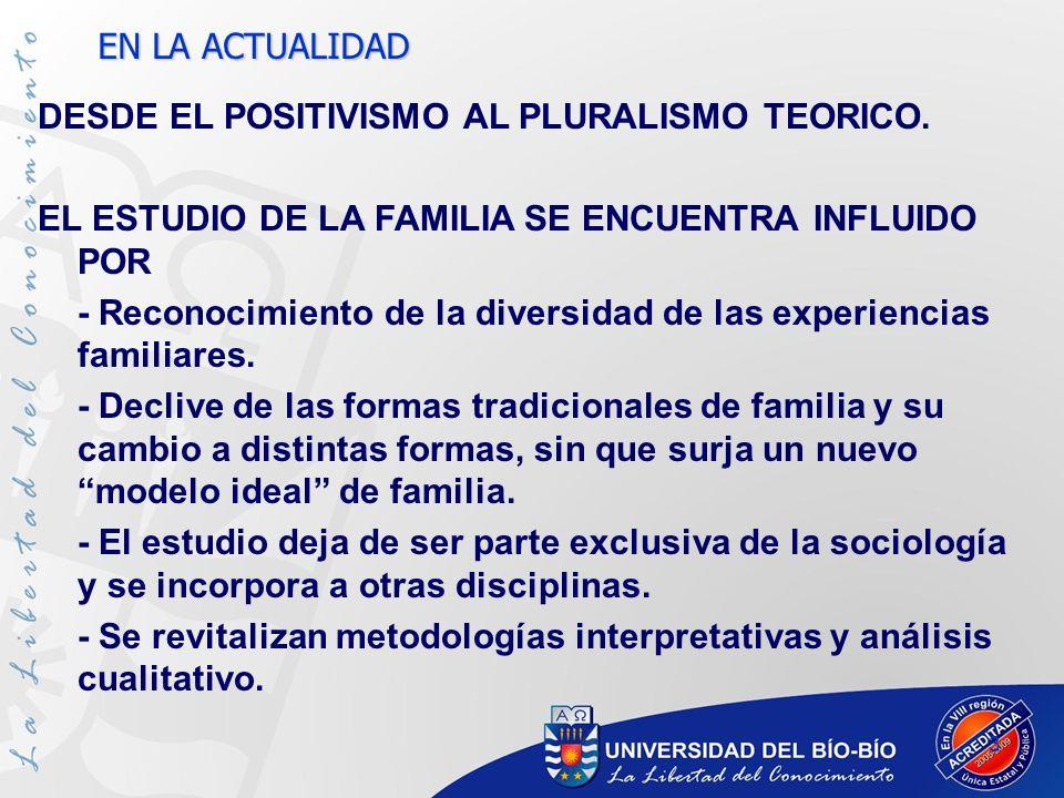 3 DESDE EL POSITIVISMO AL PLURALISMO TEORICO. EL ESTUDIO DE LA FAMILIA SE ENCUENTRA INFLUIDO POR - Reconocimiento de la diversidad de las experiencias