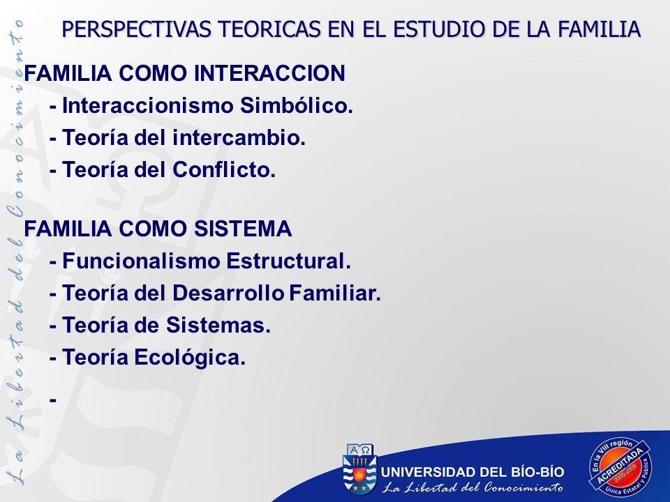 7 FAMILIA COMO INTERACCION - Interaccionismo Simbólico. - Teoría del intercambio. - Teoría del Conflicto. FAMILIA COMO SISTEMA - Funcionalismo Estruct