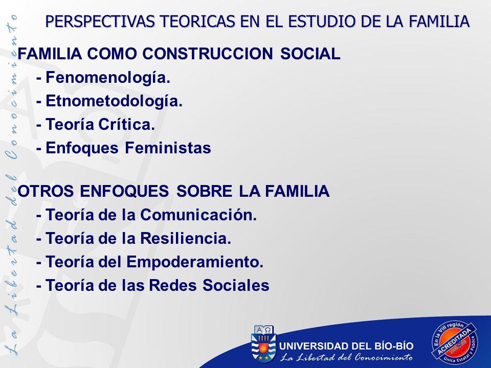 8 FAMILIA COMO CONSTRUCCION SOCIAL - Fenomenología. - Etnometodología. - Teoría Crítica. - Enfoques Feministas OTROS ENFOQUES SOBRE LA FAMILIA - Teorí