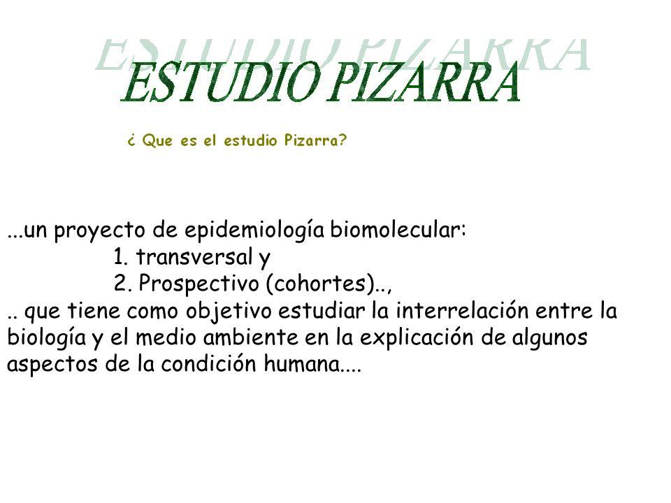 ...un proyecto de epidemiología biomolecular: 1. transversal y 2.