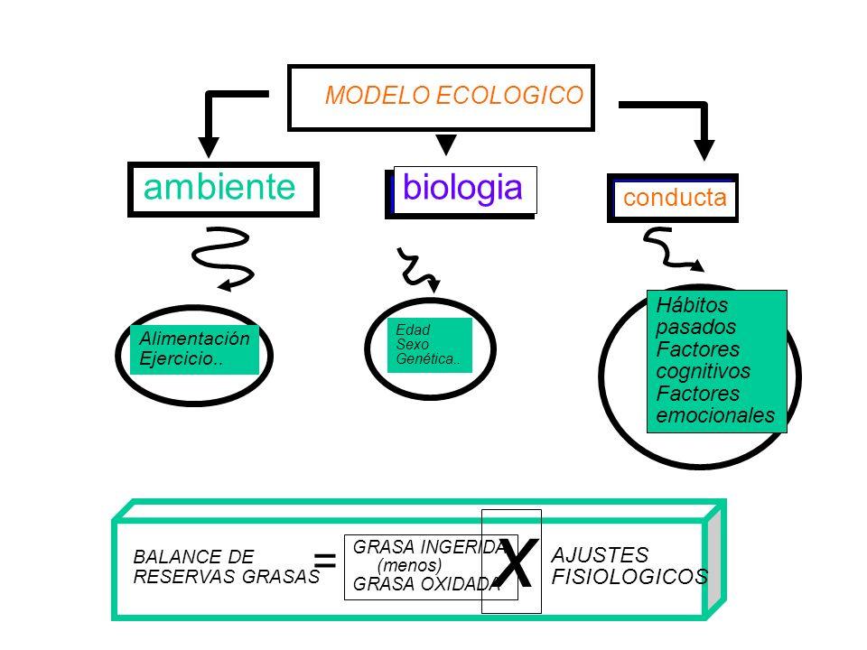 ambiente biologia conducta MODELO ECOLOGICO Alimentación Ejercicio.. Edad Sexo Genética.. Hábitos pasados Factores cognitivos Factores emocionales BAL