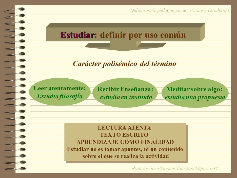 Estudiar Estudiar: definir por uso común Carácter polisémico del término Leer atentamente: Estudia filosofía Recibir Enseñanza: estudia en instituto M