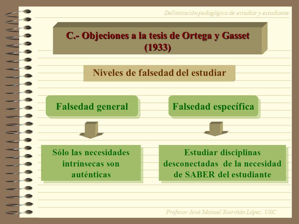 C.- Objeciones a la tesis de Ortega y Gasset (1933) Niveles de falsedad del estudiar Falsedad general Falsedad específica Sólo las necesidades intríns