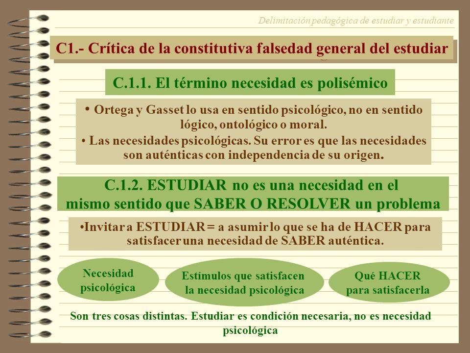 C1.- Crítica de la constitutiva falsedad general del estudiar C.1.1. El término necesidad es polisémico Ortega y Gasset lo usa en sentido psicológico,