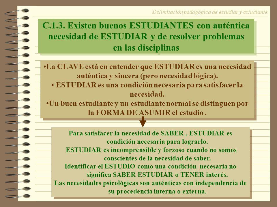 C.1.3. Existen buenos ESTUDIANTES con auténtica necesidad de ESTUDIAR y de resolver problemas en las disciplinas C.1.3. Existen buenos ESTUDIANTES con