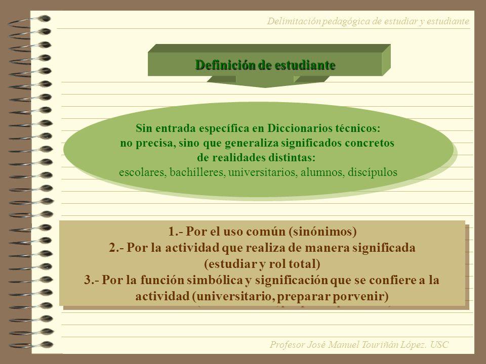 Definición de estudiante Sin entrada específica en Diccionarios técnicos: no precisa, sino que generaliza significados concretos de realidades distint