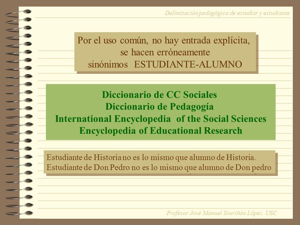 Diccionario de CC Sociales Diccionario de Pedagogía International Encyclopedia of the Social Sciences Encyclopedia of Educational Research Estudiante