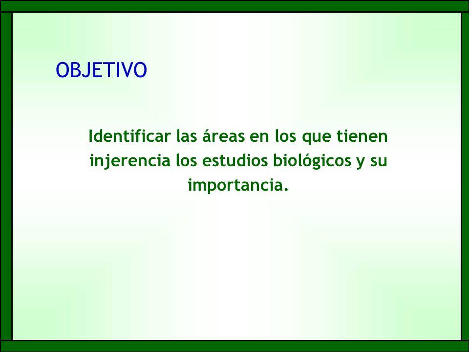 Identificar las áreas en los que tienen injerencia los estudios biológicos y su importancia.