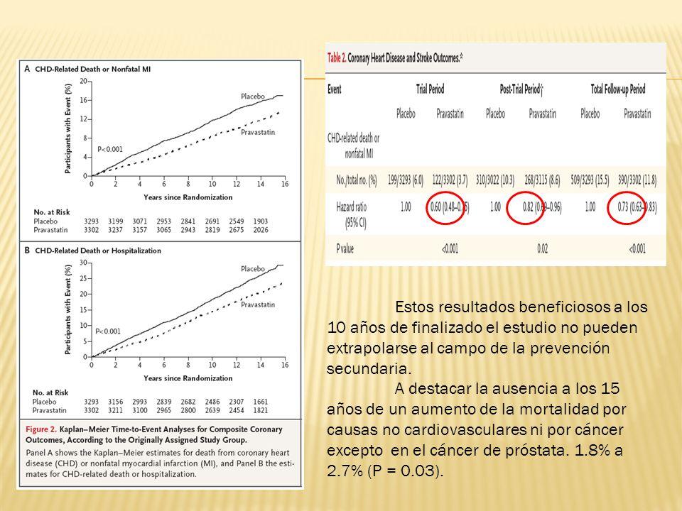Estos resultados beneficiosos a los 10 años de finalizado el estudio no pueden extrapolarse al campo de la prevención secundaria. A destacar la ausenc