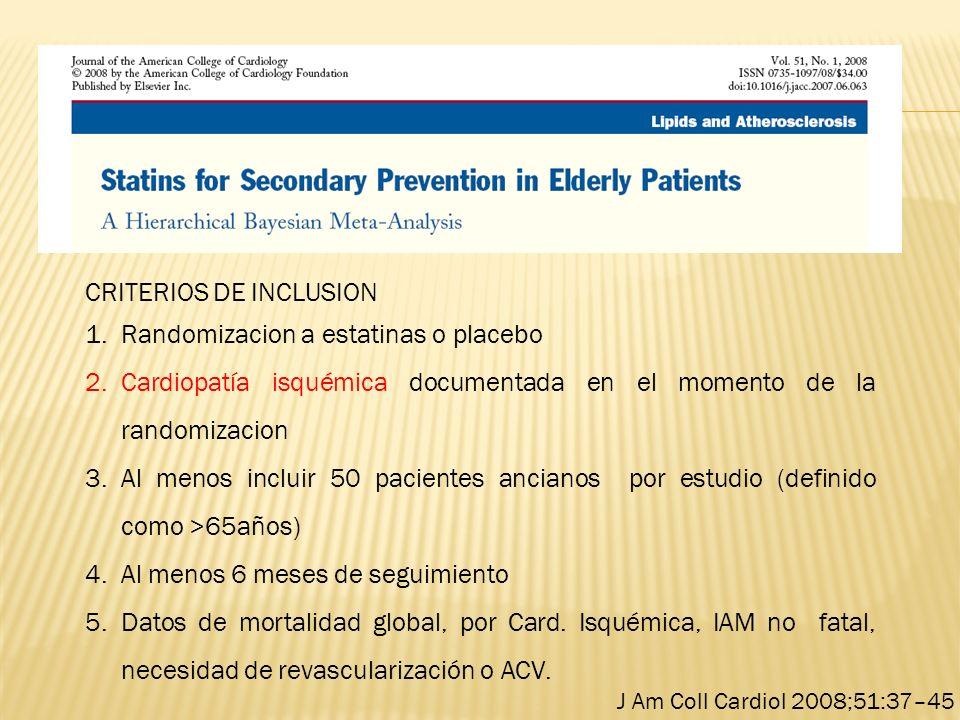 CRITERIOS DE INCLUSION 1.Randomizacion a estatinas o placebo 2.Cardiopatía isquémica documentada en el momento de la randomizacion 3.Al menos incluir