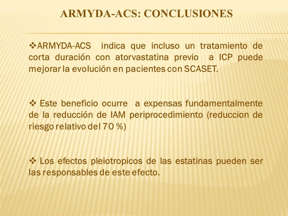 ARMYDA-ACS: CONCLUSIONES ARMYDA-ACS indica que incluso un tratamiento de corta duración con atorvastatina previo a ICP puede mejorar la evolución en p