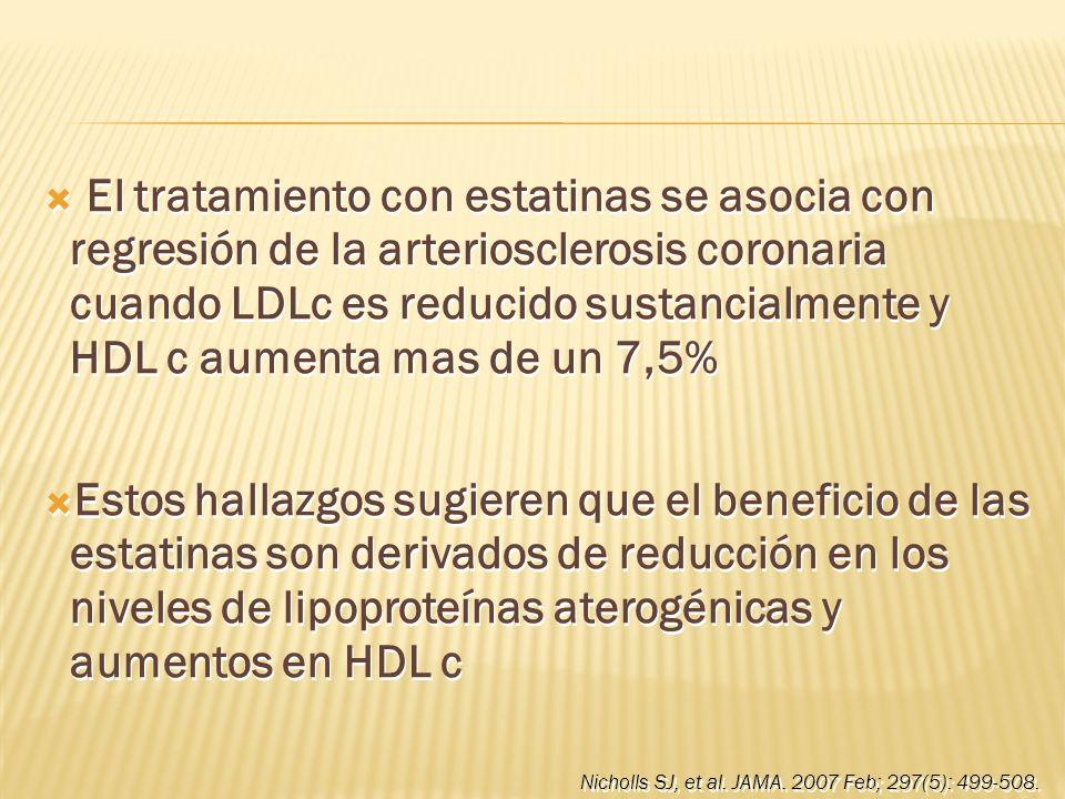 El tratamiento con estatinas se asocia con regresión de la arteriosclerosis coronaria cuando LDLc es reducido sustancialmente y HDL c aumenta mas de u
