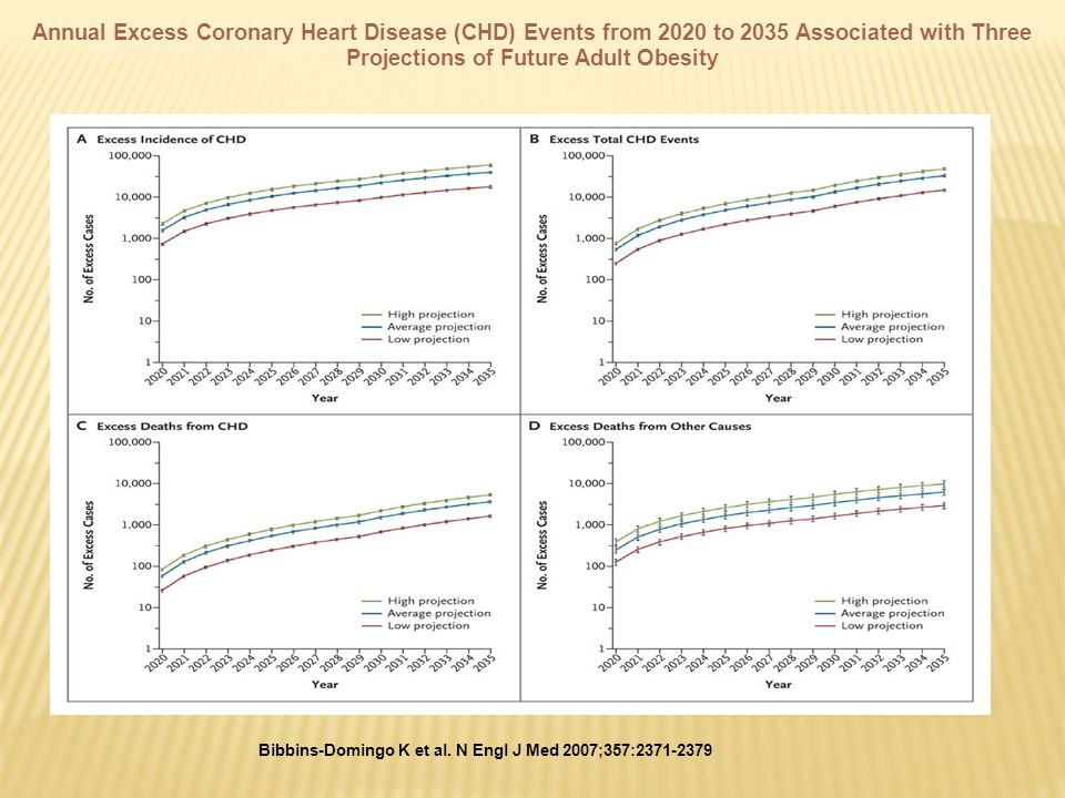 Bibbins-Domingo K et al. N Engl J Med 2007;357:2371-2379 Annual Excess Coronary Heart Disease (CHD) Events from 2020 to 2035 Associated with Three Pro