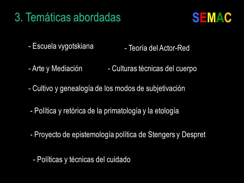 3. Temáticas abordadas - Política y retórica de la primatología y la etología - Teoría del Actor-Red - Arte y Mediación - Cultivo y genealogía de los