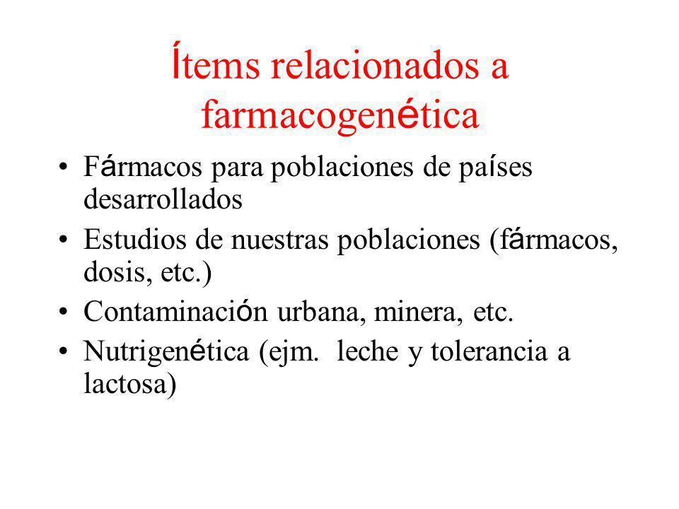 Í tems relacionados a farmacogen é tica F á rmacos para poblaciones de pa í ses desarrollados Estudios de nuestras poblaciones (f á rmacos, dosis, etc.) Contaminaci ó n urbana, minera, etc.