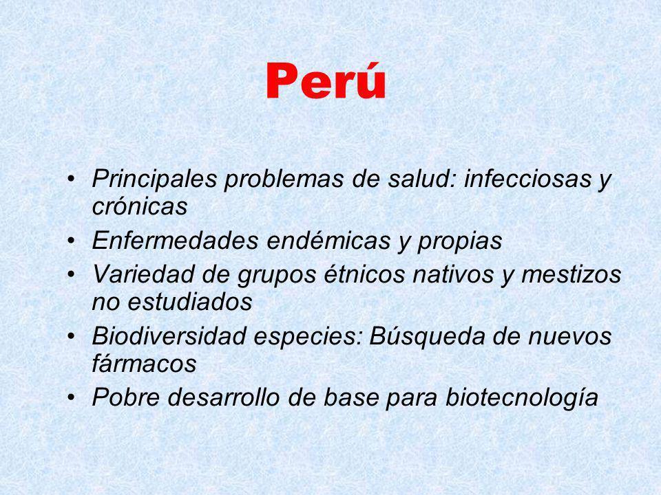 Perú Principales problemas de salud: infecciosas y crónicas Enfermedades endémicas y propias Variedad de grupos étnicos nativos y mestizos no estudiados Biodiversidad especies: Búsqueda de nuevos fármacos Pobre desarrollo de base para biotecnología