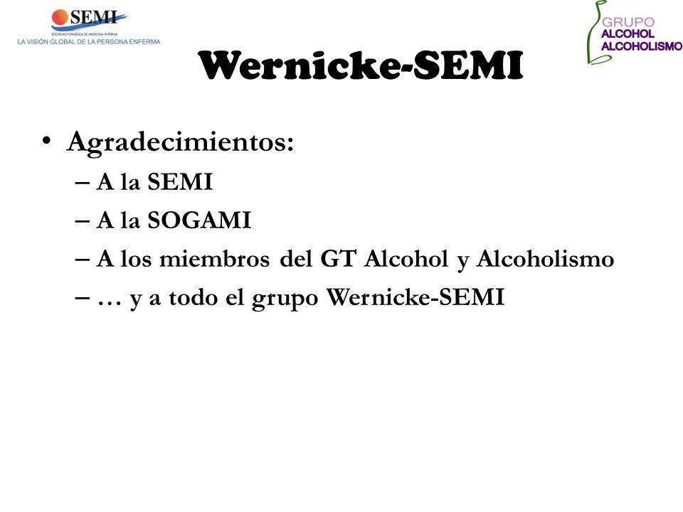 Wernicke-SEMI Agradecimientos: – A la SEMI – A la SOGAMI – A los miembros del GT Alcohol y Alcoholismo – … y a todo el grupo Wernicke-SEMI