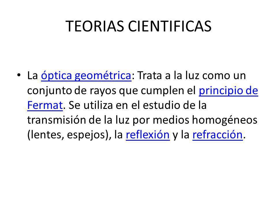 TEORIAS CIENTIFICAS La óptica ondulatoria: Considera a la luz como una onda plana, teniendo en cuenta su frecuencia y longitud de onda.