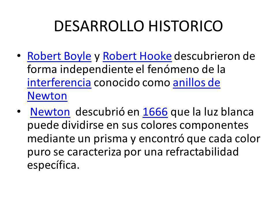 DESARROLLO HISTORICO En la época en que Newton publicó su teoría del color, no se conocía si la luz se propagaba instantáneamente o no.