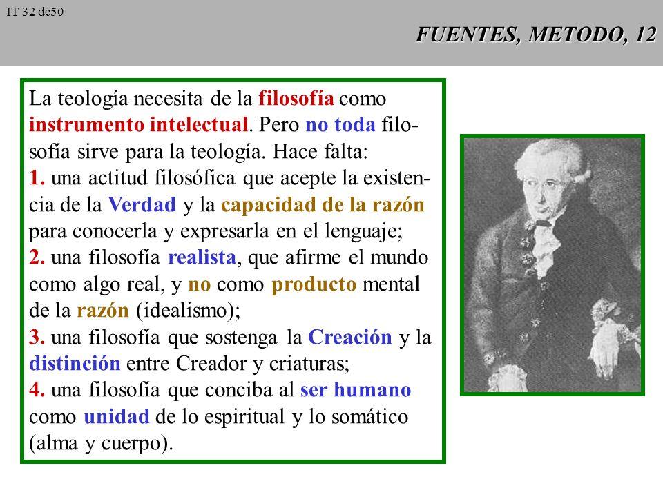 FUENTES, METODO, 11 Método La historia de la teología católica muestra que los teólogos han usado de modo más o menos espontáneo diversos modelos meto