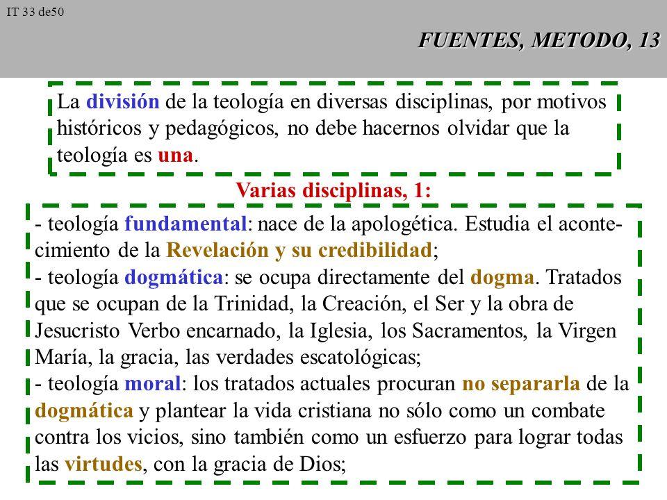 FUENTES, METODO, 12 La teología necesita de la filosofía como instrumento intelectual. Pero no toda filo- sofía sirve para la teología. Hace falta: 1.