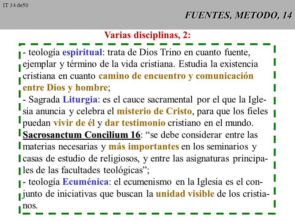 FUENTES, METODO, 13 La división de la teología en diversas disciplinas, por motivos históricos y pedagógicos, no debe hacernos olvidar que la teología