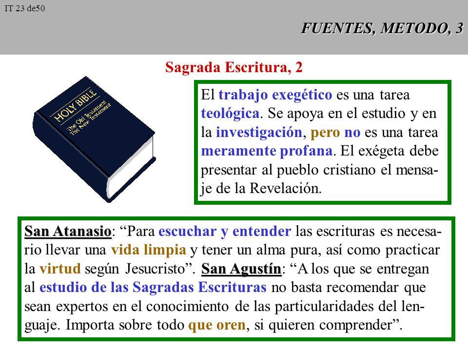 FUENTES, METODO, 2 Sagrada Escritura, 1 a Dei Verbum 9 es la Palabra de Dios en cuanto escrita (Dei Verbum 9). Bajo la inspiración del Espíritu Santo,