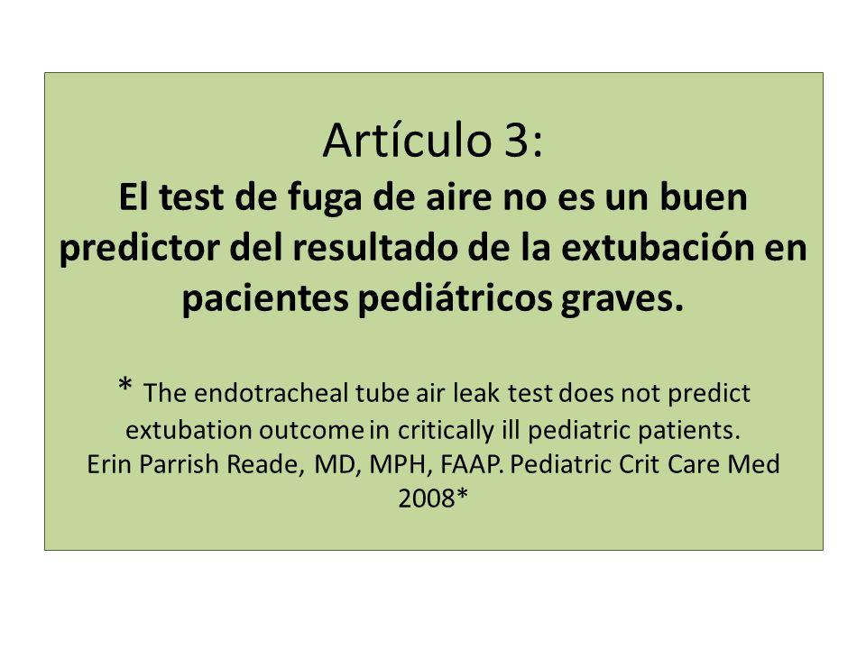Artículo 3: El test de fuga de aire no es un buen predictor del resultado de la extubación en pacientes pediátricos graves. * The endotracheal tube ai