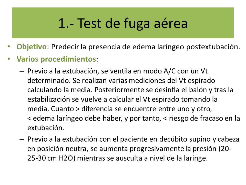 Objetivo: Predecir la presencia de edema laríngeo postextubación. Varios procedimientos: – Previo a la extubación, se ventila en modo A/C con un Vt de